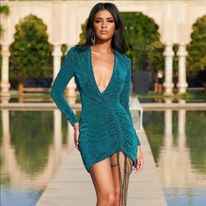 Green Metallic Plunge Neck Ruched Mini Dress